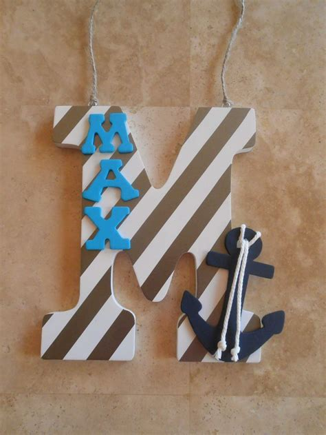 Rustic anchor wall decor adds instant nautical mood to your home or cottage; Nursery Wall Letters - Anchor Decor - Nautical Nursery Decor - Navy Nursery Decor - Wooden ...