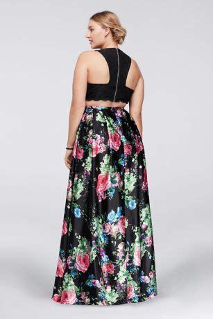 cutaway crop top  floral skirt  size set davids