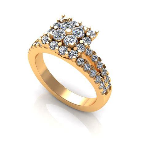 diamond ring 2 row engagement ring 3d 3d printable stl cgtrader com
