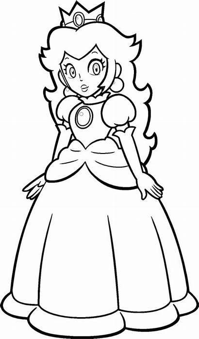 Peach Coloring Mario Princess Colorear Dibujos Bros