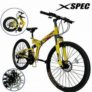 "Xspec 26"" 21 Speed Folding Mountain Bike Bicycle Trail ..."