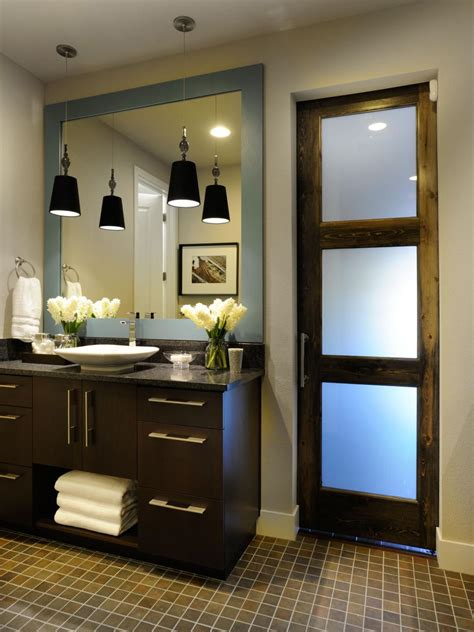 contemporary master bathroom  reclaimed wood door hgtv