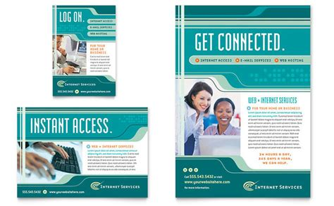 internet service provider flyer ad template design