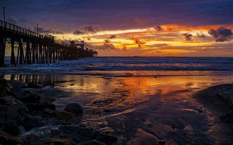 sunset oceanside coastal city  california