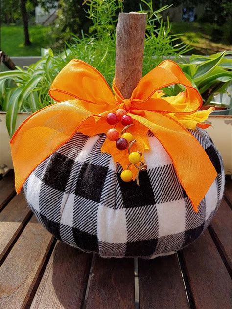 flannel plaid fabric pumpkin autumn decor thanksgiving