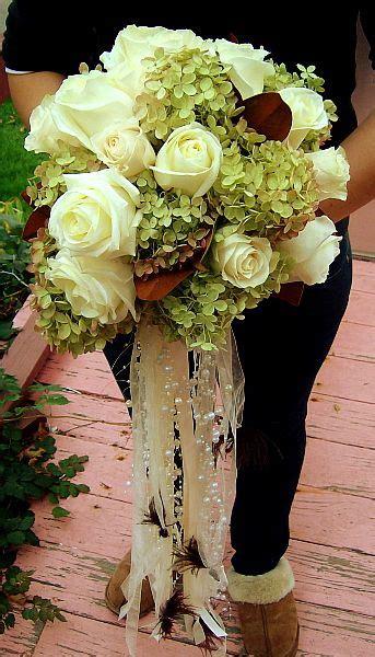 style bridal bouquet  roses antique hydrangea