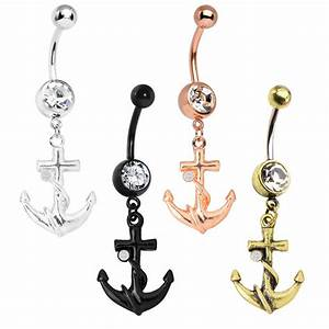 Sea Anchor Belly Button Ring 14G Surgical Steel | eBay
