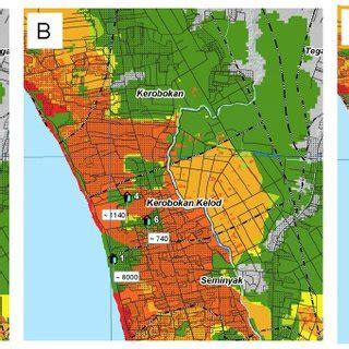 tsunami risk map  bali  scientific diagram