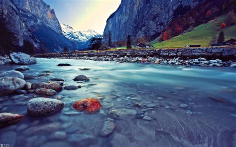 water mountains landscapes nature snow valley rocks