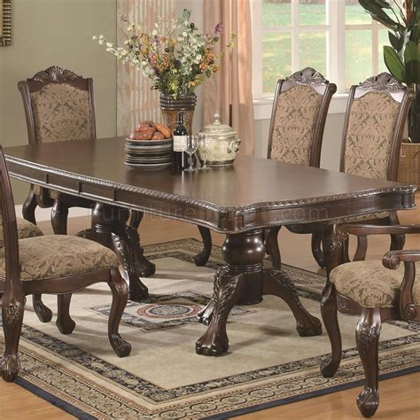 brown cherry finish traditional dining table wextension leaf