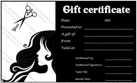 Free Printable Hair Salon Gift Certificate Template by The Platinum Salon Gift Certificate Template