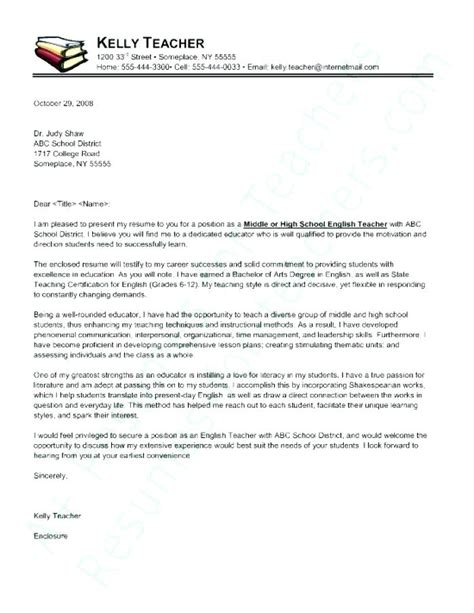 cover letters for teachers cover letter exles gallery letter format 11948