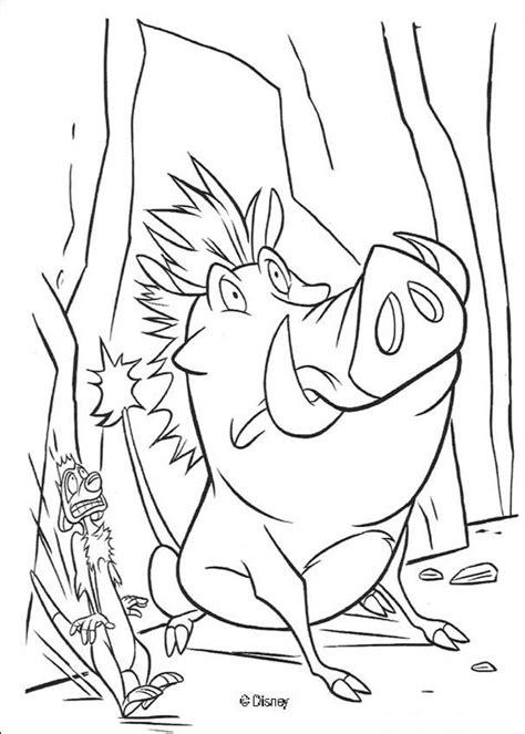 Kleurplaat Pumba by Terrified Pumbaa And Timon Coloring Pages Hellokids