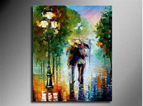 men waking   rainy night abstract figure oil painting