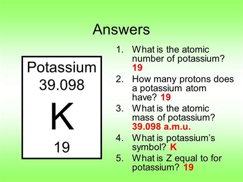 Number Of Protons In Potassium by Periodic Table Notes Ppt