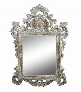 Miroir Blanc Baroque : grand miroir baroque en bois blanchi sculpt 140x86cm ~ Teatrodelosmanantiales.com Idées de Décoration
