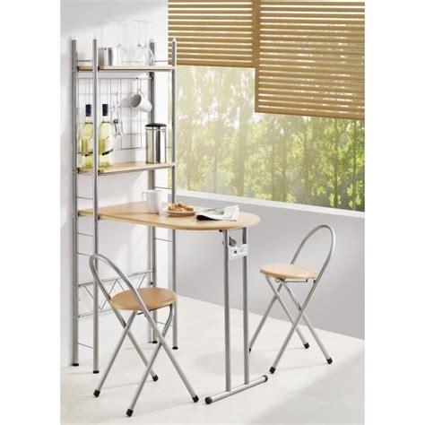 table de cuisine modulable cuisine bar pliable 2 étagères et 2 tabourets achat