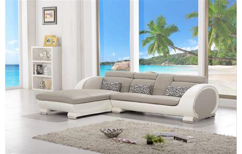 canapes modernes canapé d 39 angle moderne en cuir elios gris et blanc
