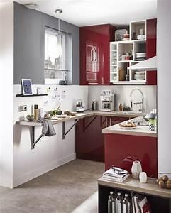 meuble de cuisine rouge delinia griotte maison With beautiful meuble pour petit appartement 12 les meubles de cuisine