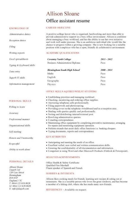 student entry level office assistant resume template