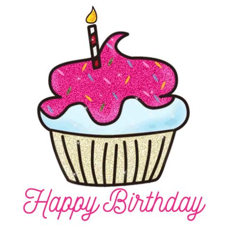 Happy Birthday Animated Clip Animated Gif Birthday Greetings Cup Cake Clipart Happy
