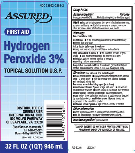 hydrogen peroxide  percent assured dollar tree