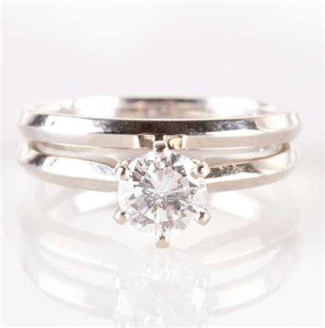 Vintage 1970s 14k White Gold Diamond Solitaire Engagement