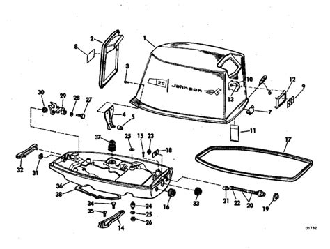 20 Hp Johnson Outboard Diagram by Johnson Motor Cover Parts For 1970 20hp 20r70c