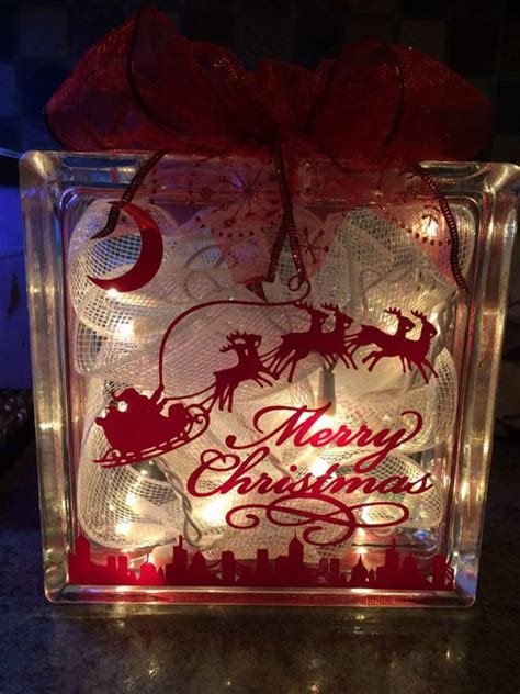 lighted christmas glass block decoration by