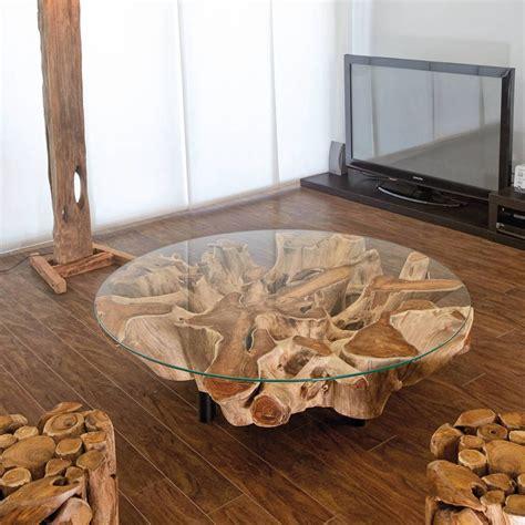 couchtisch aus teak wurzel holz fuer wohnzimmer terrasse