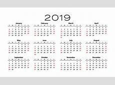 2019 Calendar Template Free Stock Photo Public Domain
