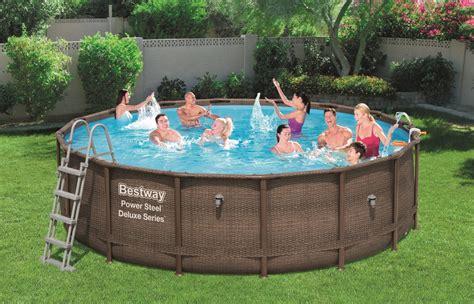 frame pool 366x100 bestway pool rattan optik