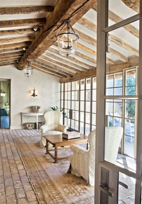 living room  exposed wood beams    year