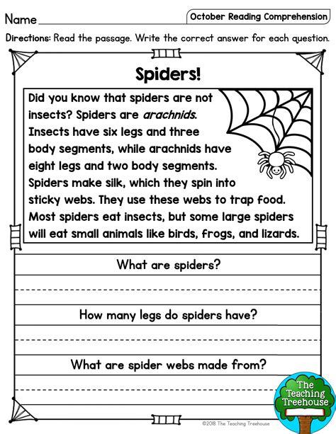 spider reading comprehension worksheet  october reading