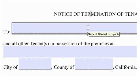 day notice  quit  terminate tenancy   fill