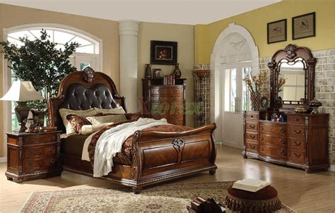traditional sleigh bedroom furniture set  leather