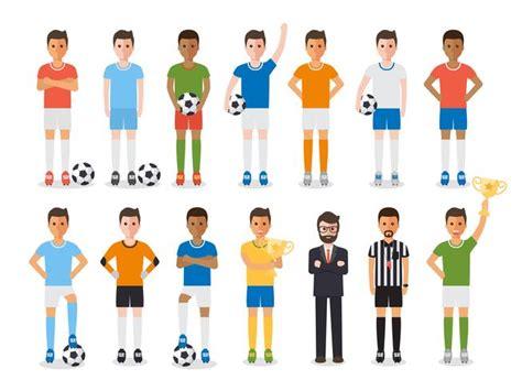 soccer player football sport athlete character set