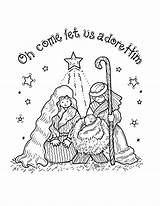 Nativity Coloring Pages Printable Sheets Christmas Jesus Cards Sheet Paper Clipart Crafts Mary sketch template