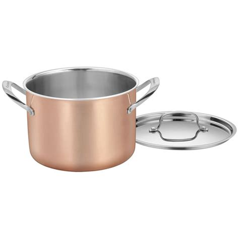 cuisinart copper tri ply stainless steel  piece cookware set