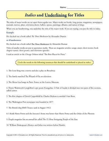 italics and underlining for titles education worksheets grammar worksheets 5th grade grammar