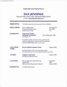 High school student resume templates free samples for Free resume for high school student