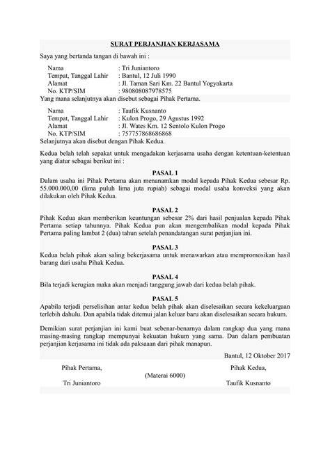 Contoh Surat Perjanjian Kerjasama Pembagian Fee - Surat 27