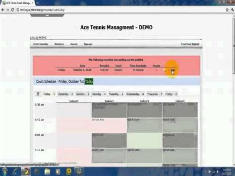front desk waitlist management ace  tennis court reservation system youtube