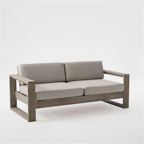 Wood Frame Loveseat by Portside Gray Finish Two Cushion Wooden Frame Sofa