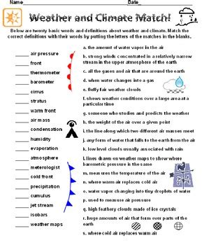 weather and climate definitions match by david filipek tpt