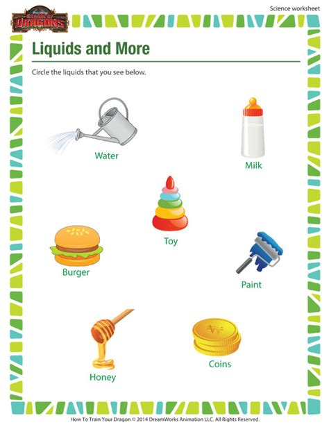 liquids more worksheet 1st grade science worksheet sod