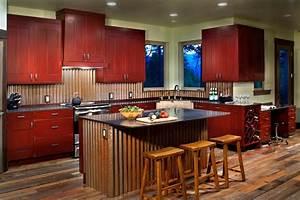 corrugated metal backsplash kitchen contemporary with