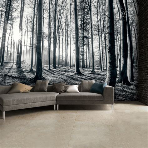 1wall tree wallpaper mural 1wall black and white forest trees mural wallpaper 315cm x 232cm