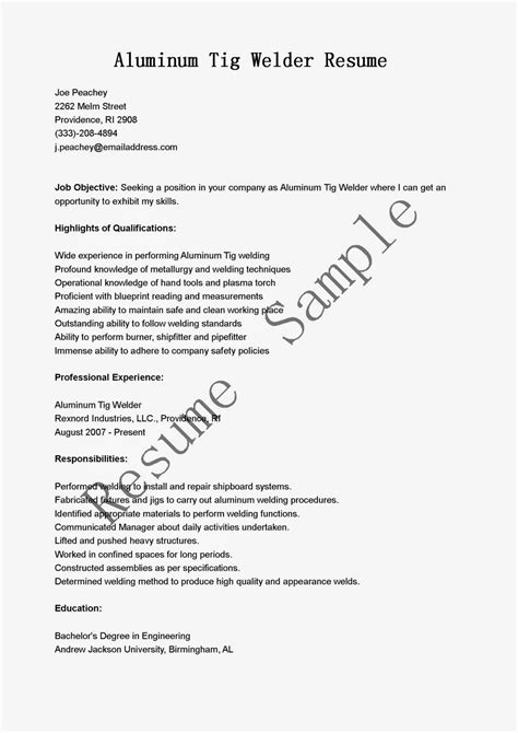 Resume Samples: Aluminum Tig Welder Resume Sample