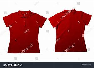 Vintage Red Female Color Polo Shirt With White Background ...